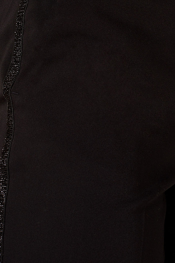 Cigarette-style trousers with glittering woven tape, BLACK, detail image number 4