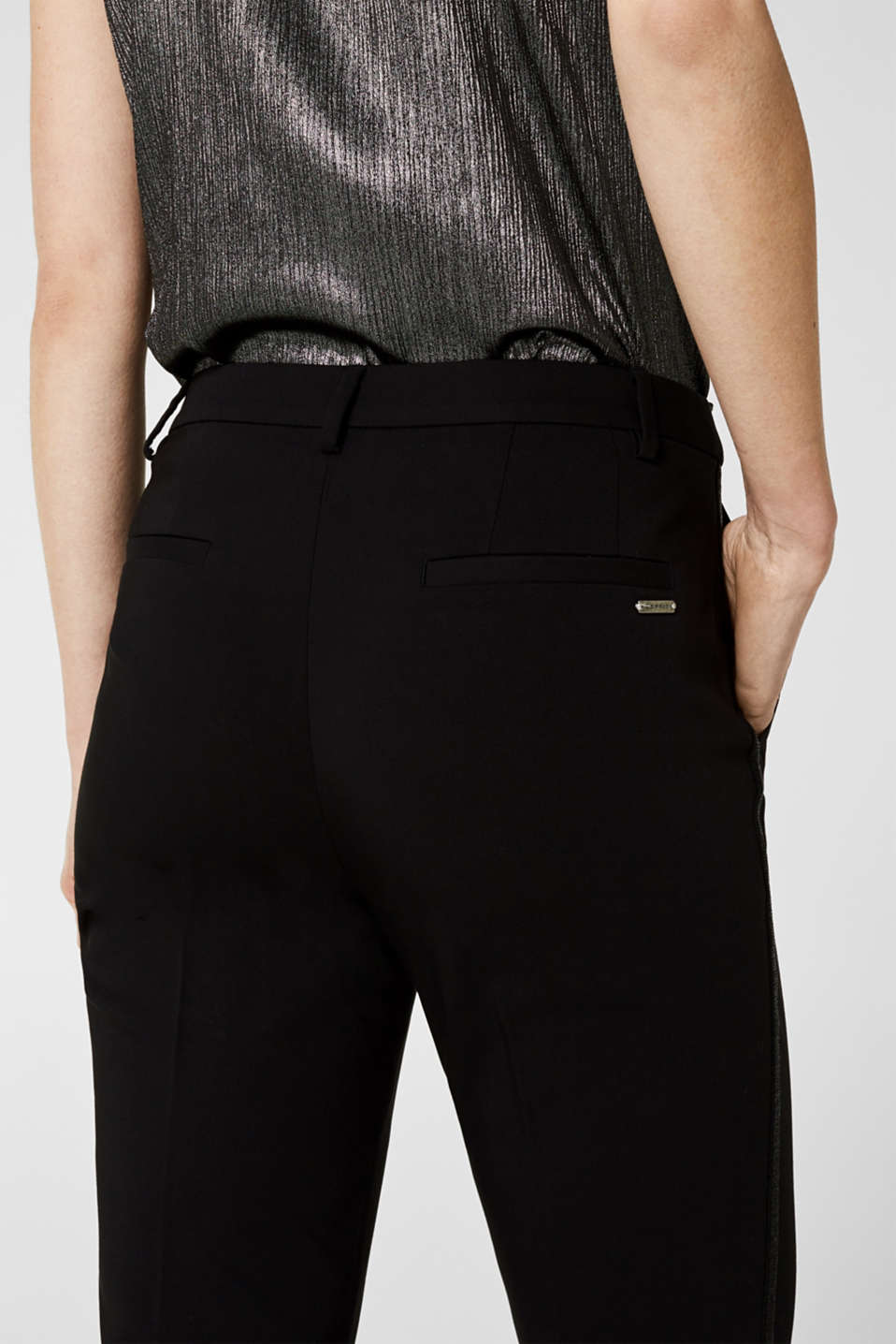 Cigarette-style trousers with glittering woven tape, BLACK, detail image number 5