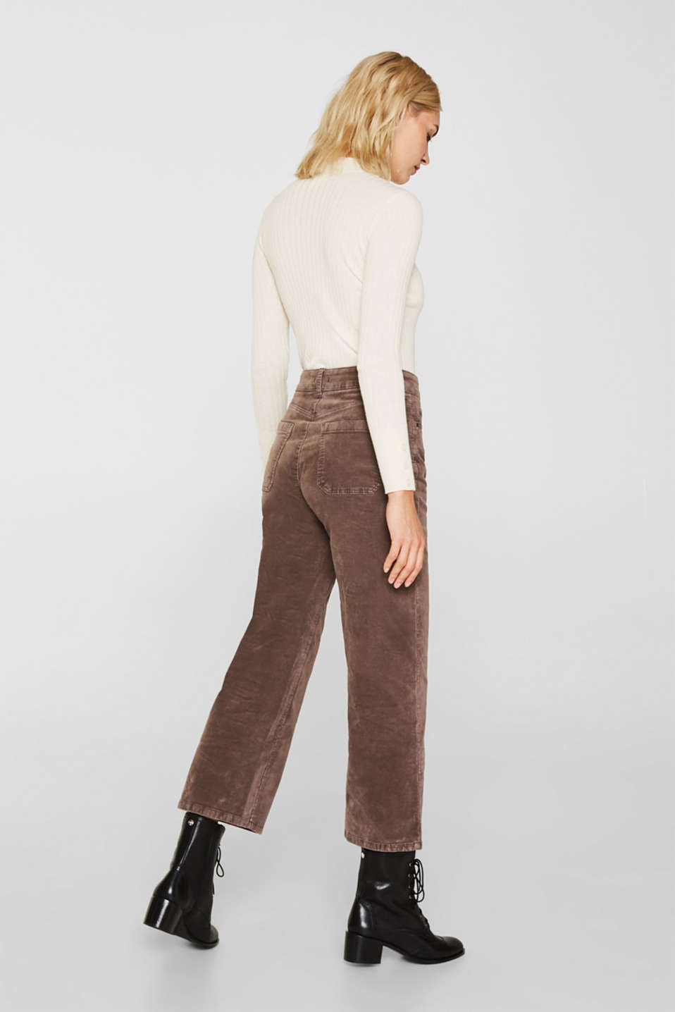Comfy and stretchy velvet culottes, LIGHT TAUPE, detail image number 3