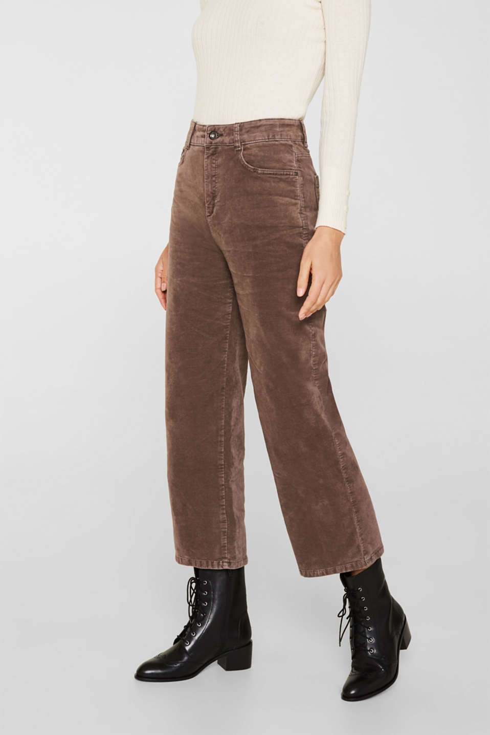 Comfy and stretchy velvet culottes, LIGHT TAUPE, detail image number 6