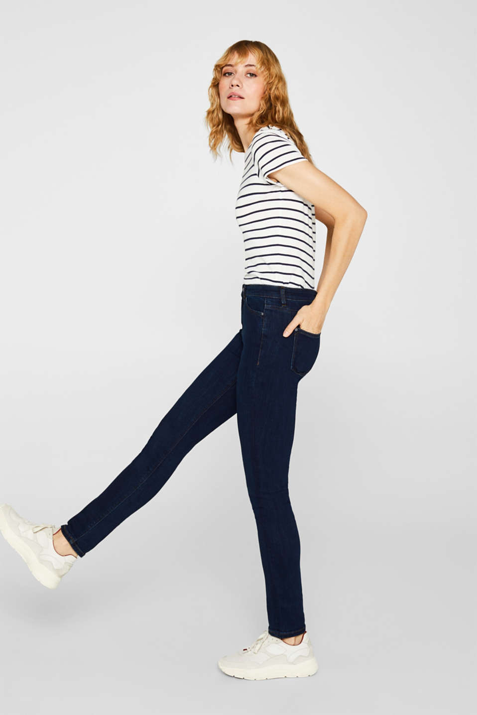 Stretch jeans with a high waistband, BLUE DARK WASH, detail image number 0