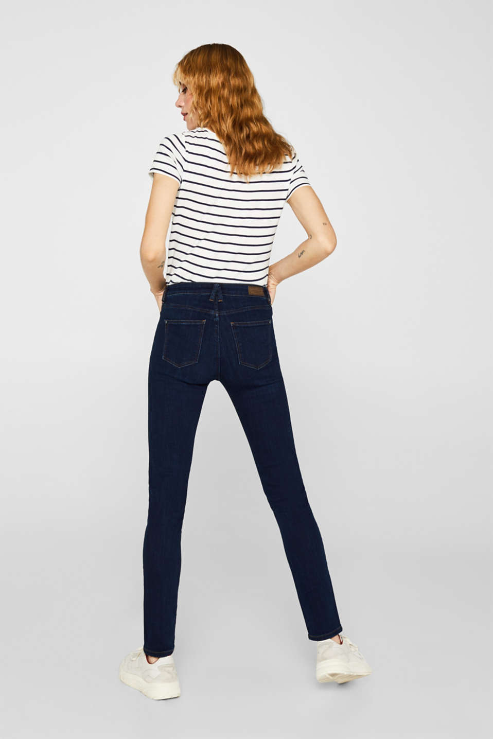 Stretch jeans with a high waistband, BLUE DARK WASH, detail image number 3