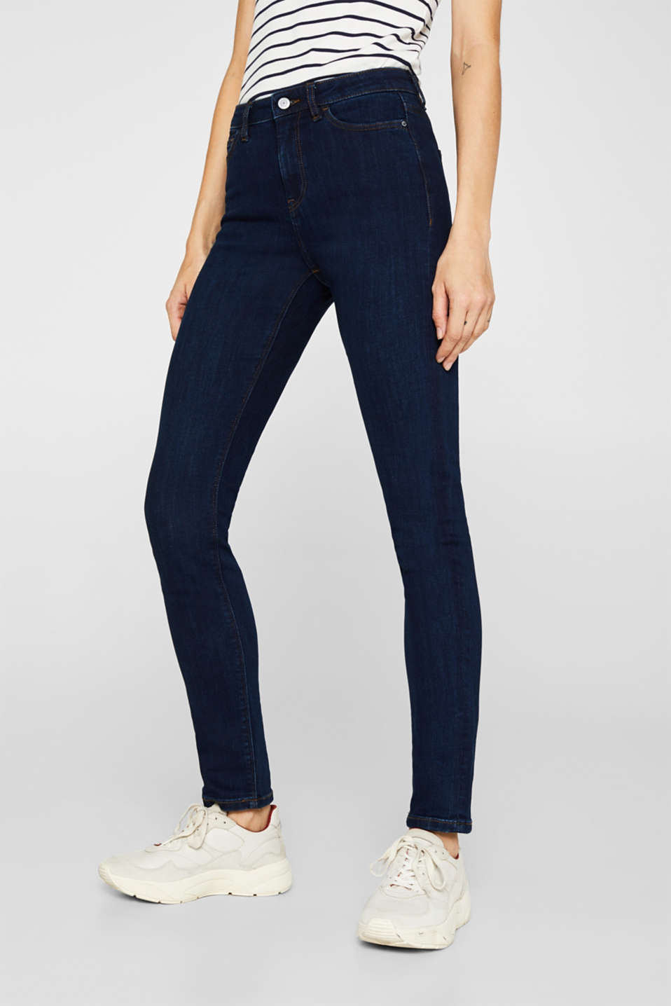 Stretch jeans with a high waistband, BLUE DARK WASH, detail image number 6