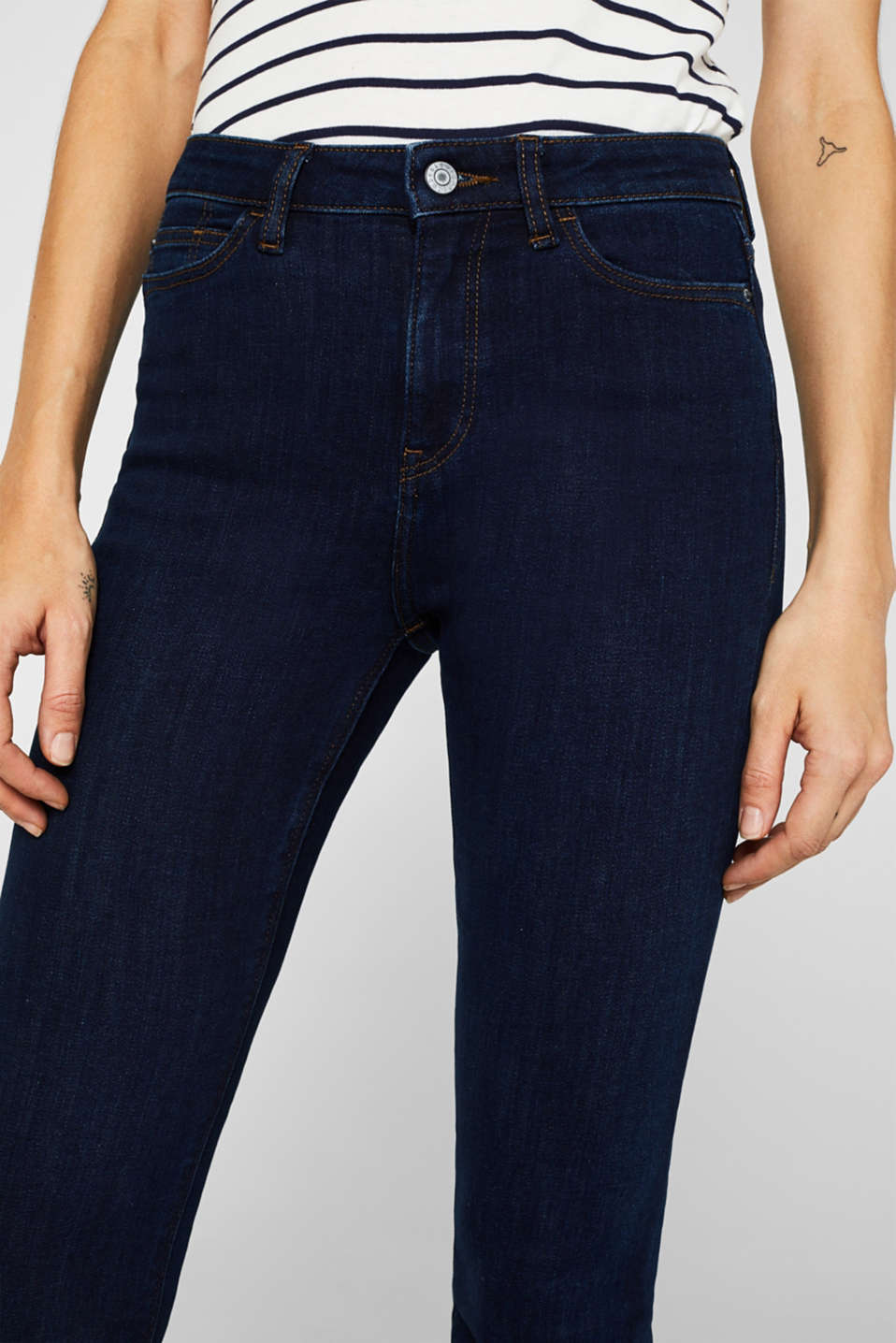 Stretch jeans with a high waistband, BLUE DARK WASH, detail image number 2
