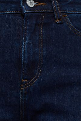 Stretch jeans with a high waistband, BLUE DARK WASH, detail