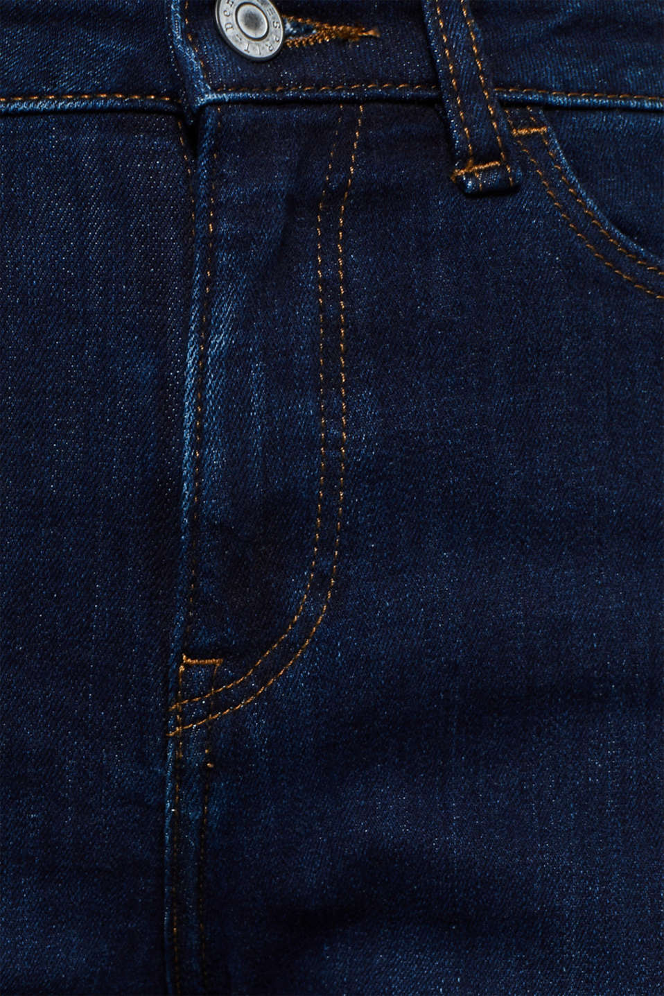 Stretch jeans with a high waistband, BLUE DARK WASH, detail image number 4