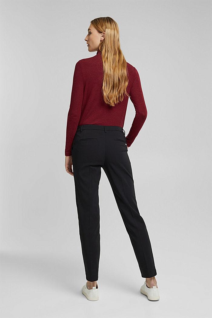 Pantaloni in cotone stretch, BLACK, detail image number 3