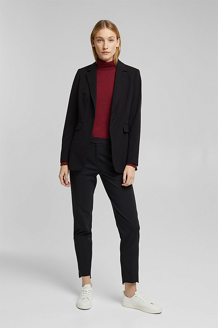 Pantaloni in cotone stretch, BLACK, detail image number 1