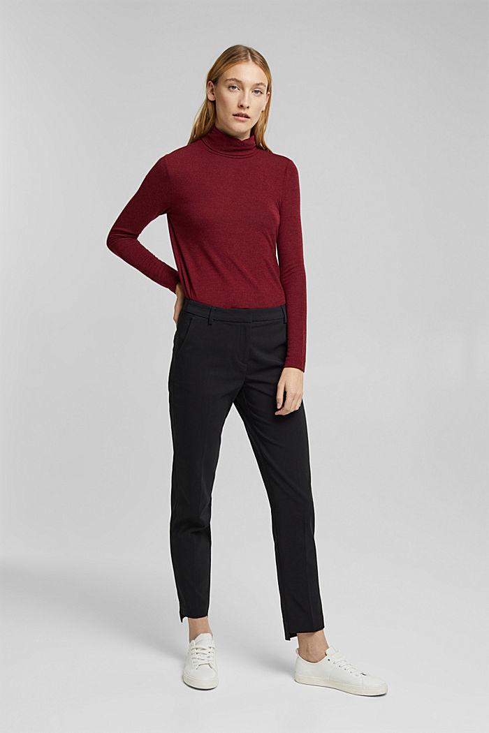 Pantaloni in cotone stretch, BLACK, detail image number 6