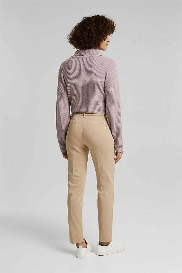 Stretch cotton trousers, BEIGE, detail image number 3