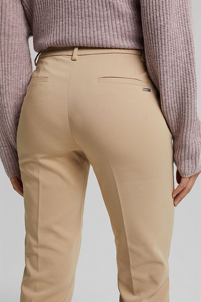 Stretch cotton trousers, BEIGE, detail image number 2
