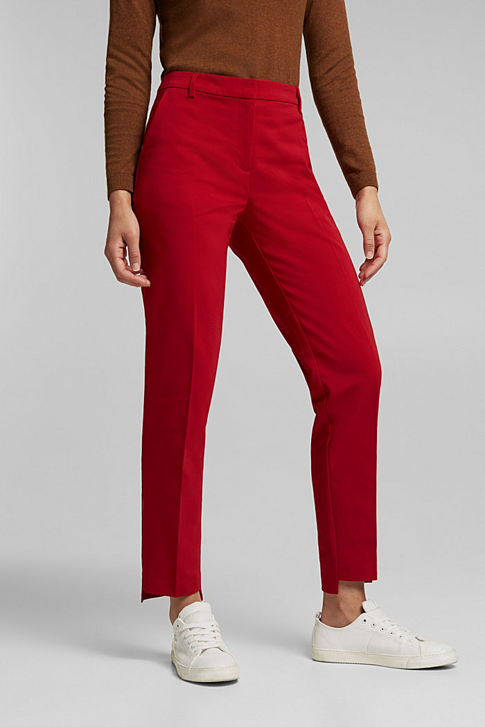 Stretch cotton trousers, DARK RED, detail image number 0