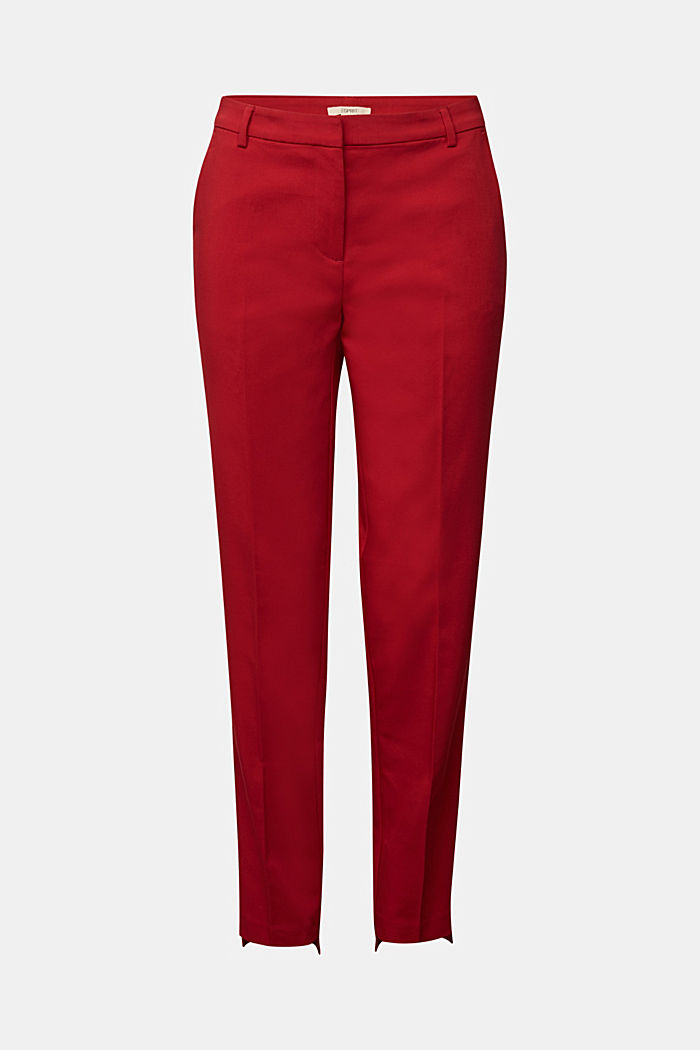 Stretch cotton trousers, DARK RED, detail image number 6