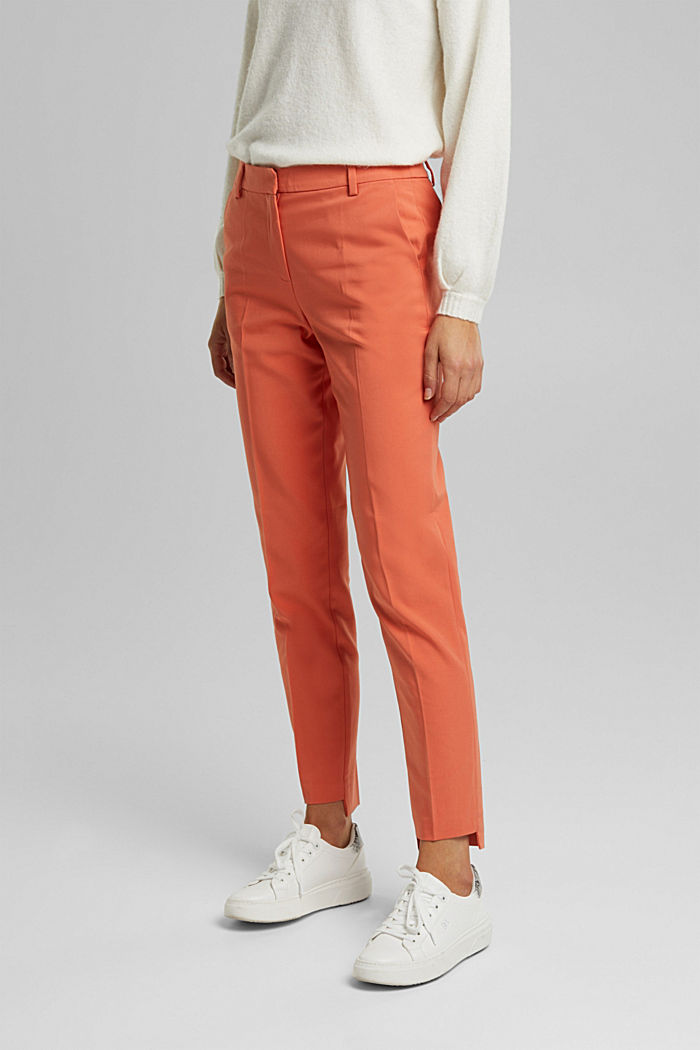 Stretch cotton trousers, BURNT ORANGE, detail image number 0