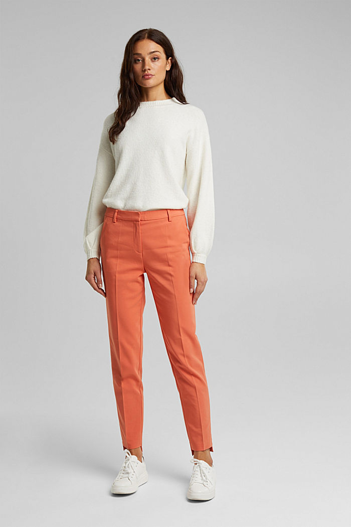 Stretch cotton trousers, BURNT ORANGE, detail image number 1