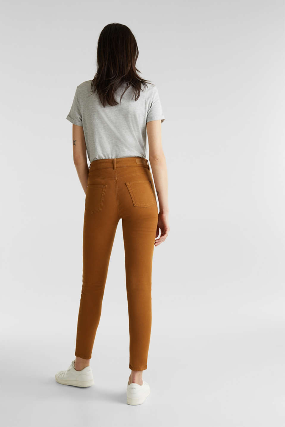Coloured stretch jeans with double button, TOFFEE, detail image number 3