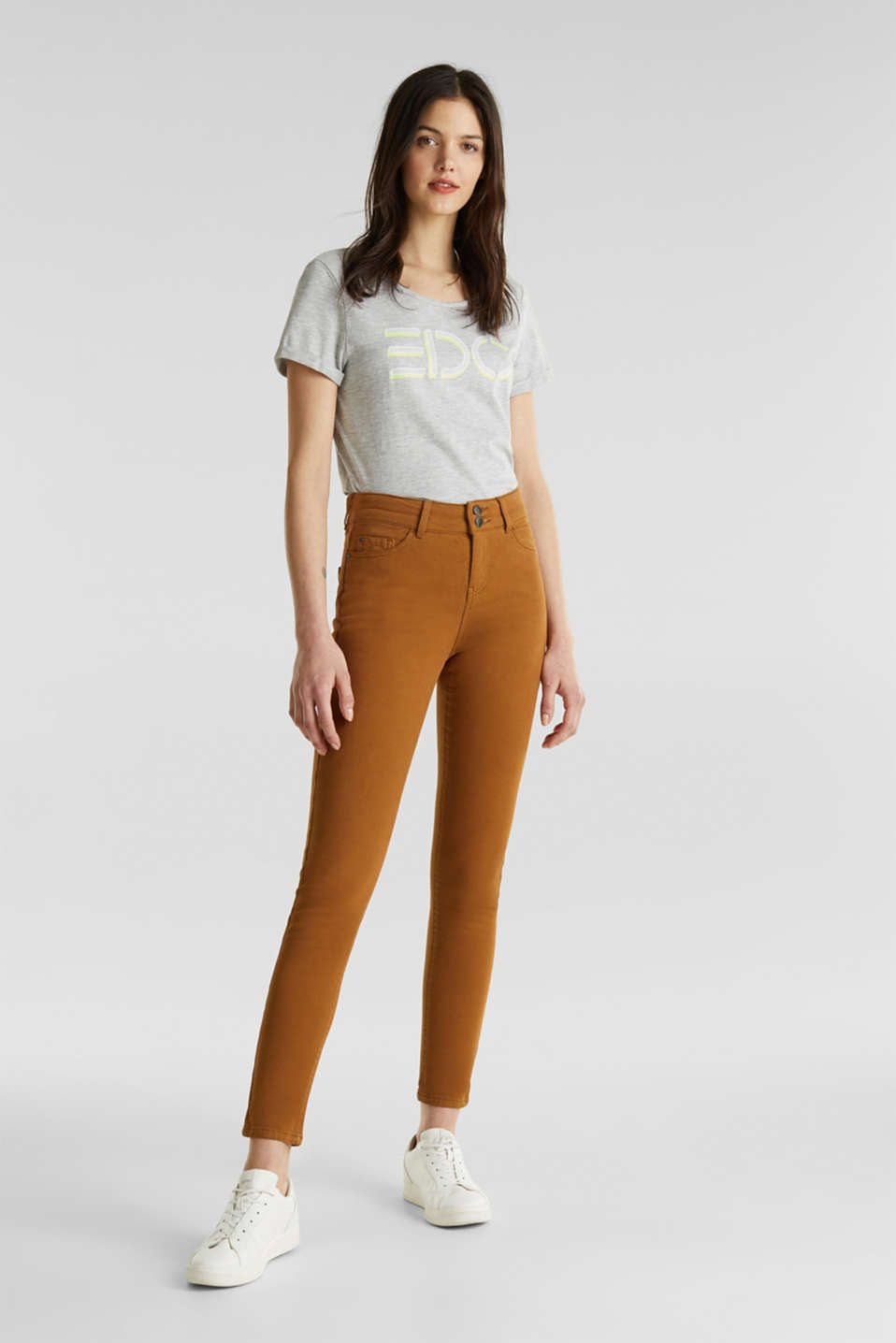 Coloured stretch jeans with double button, TOFFEE, detail image number 1