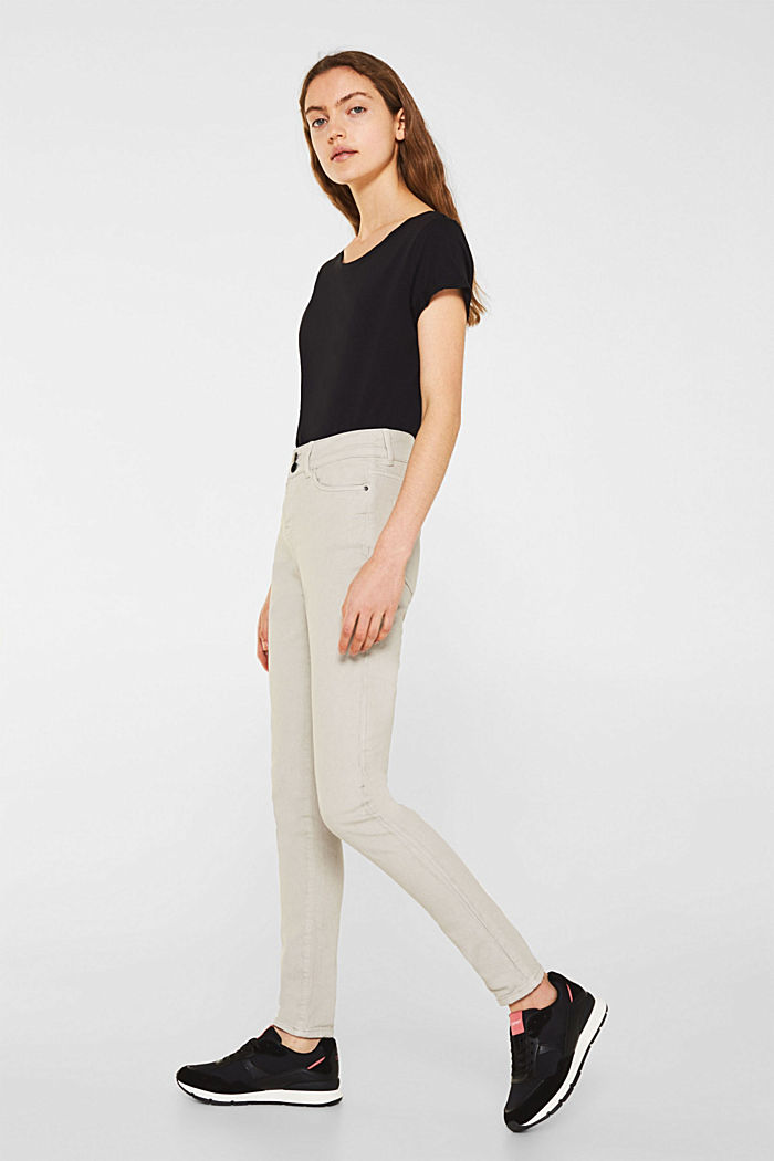 Coloured stretch jeans with double button, LIGHT TAUPE, detail image number 0