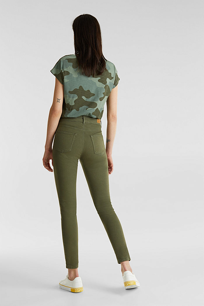 Coloured stretch jeans with double button, KHAKI GREEN, detail image number 3