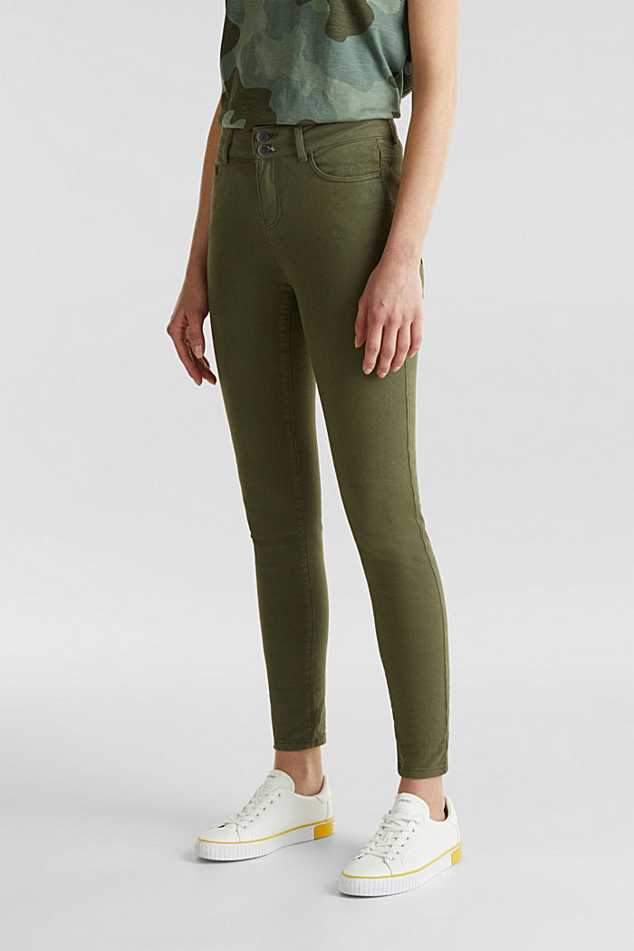 Coloured stretch jeans with double button, KHAKI GREEN, detail image number 6
