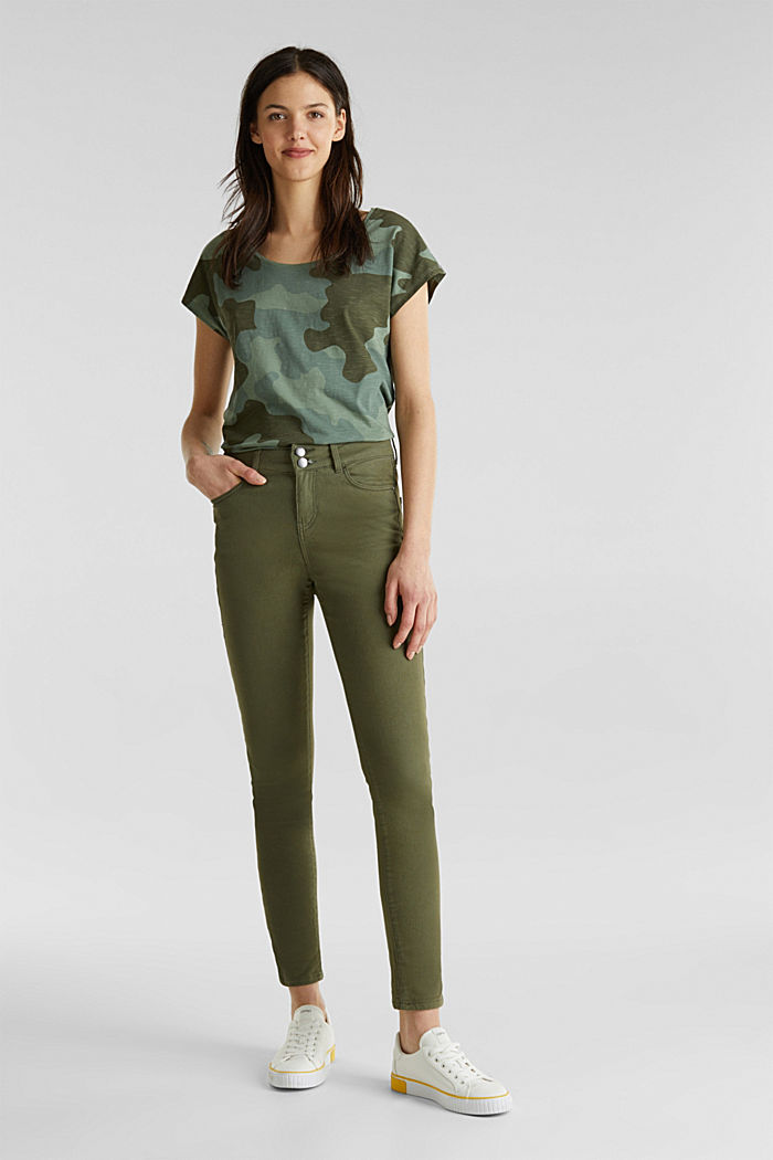Coloured stretch jeans with double button, KHAKI GREEN, detail image number 1