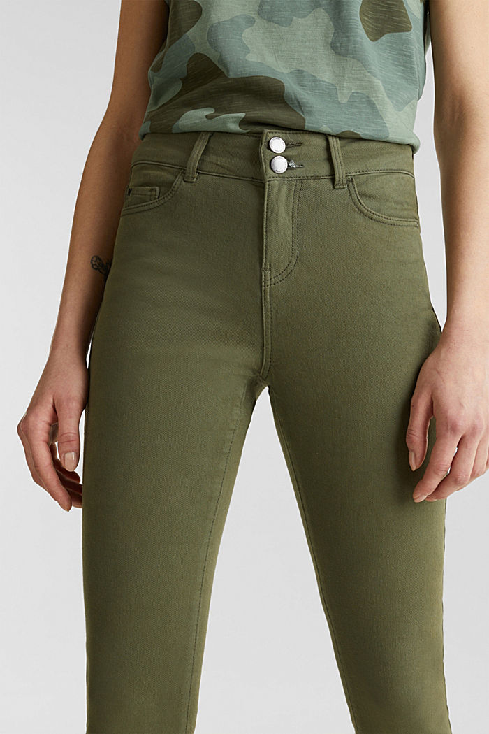 Coloured stretch jeans with double button, KHAKI GREEN, detail image number 2