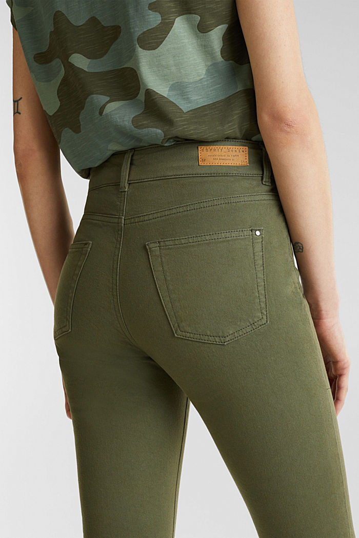 Coloured stretch jeans with double button, KHAKI GREEN, detail image number 5