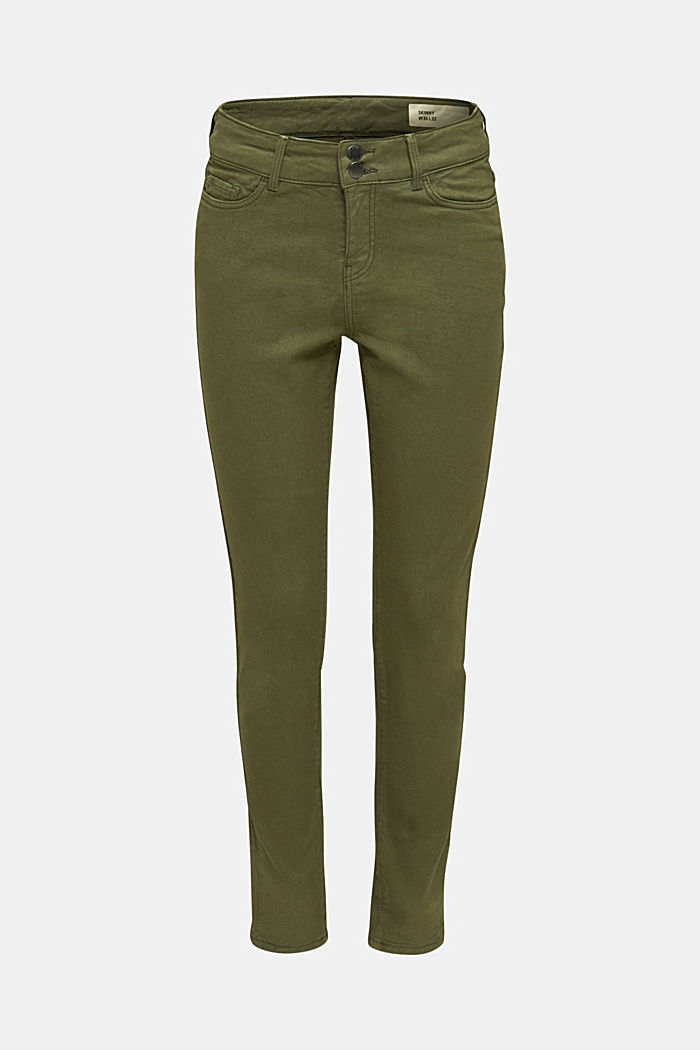 Coloured stretch jeans with double button, KHAKI GREEN, detail image number 7
