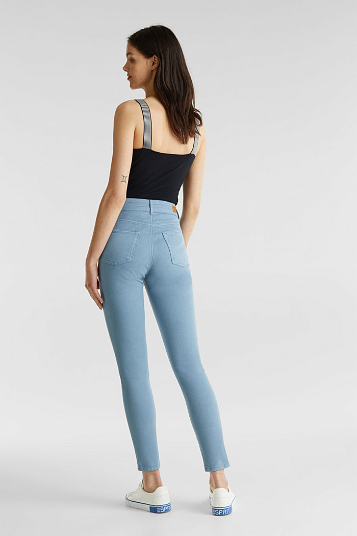 Coloured stretch jeans with double button, GREY BLUE, detail image number 3