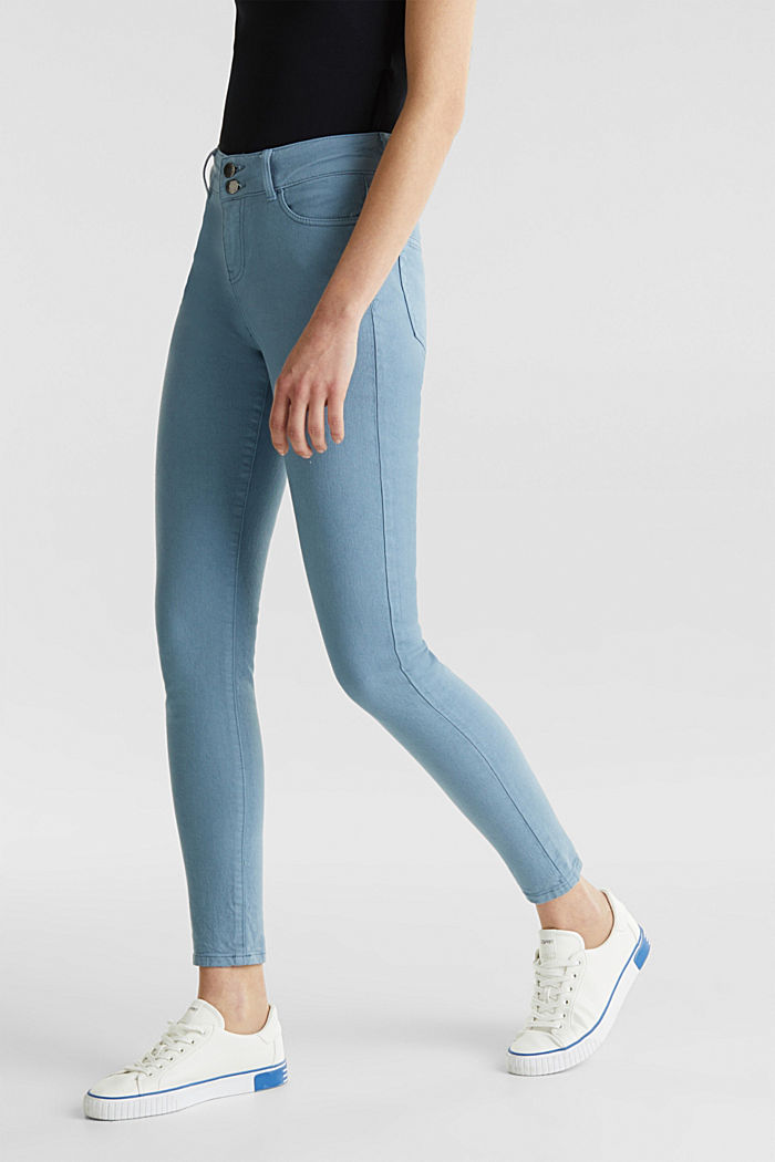 Coloured stretch jeans with double button