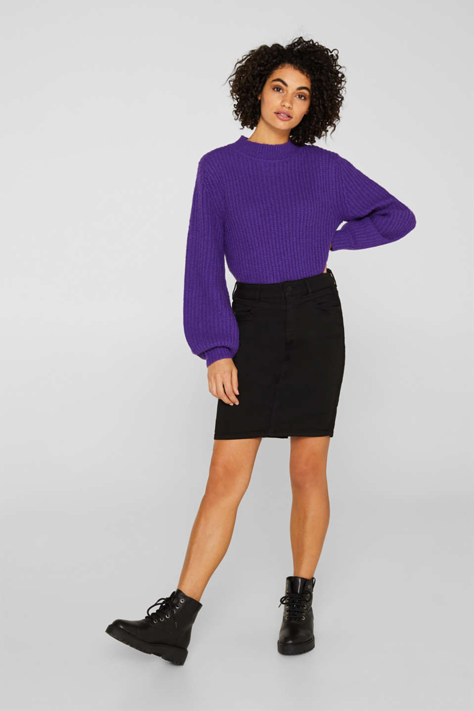 Esprit - Jet black stretch denim skirt