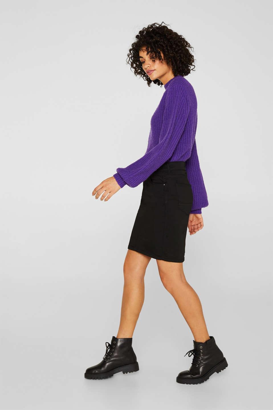 Jet black stretch denim skirt, BLACK DARK WASH, detail image number 1