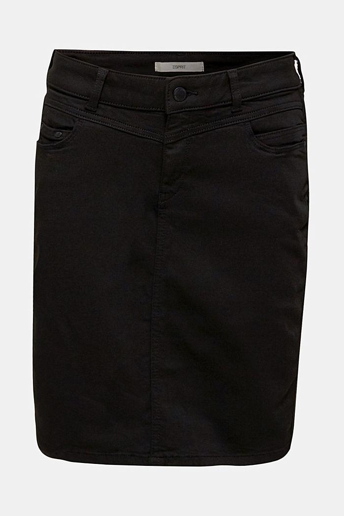 Kulsort nederdel i stretchjeans, BLACK DARK WASHED, detail image number 0