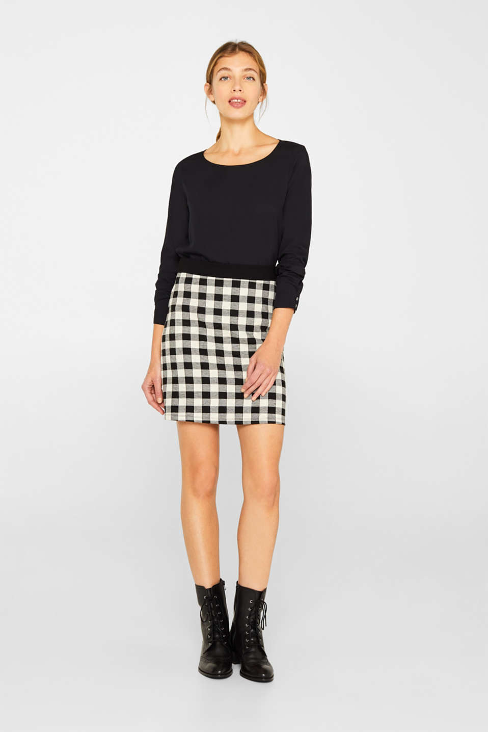 Esprit - Skirt made of textured stretch jersey