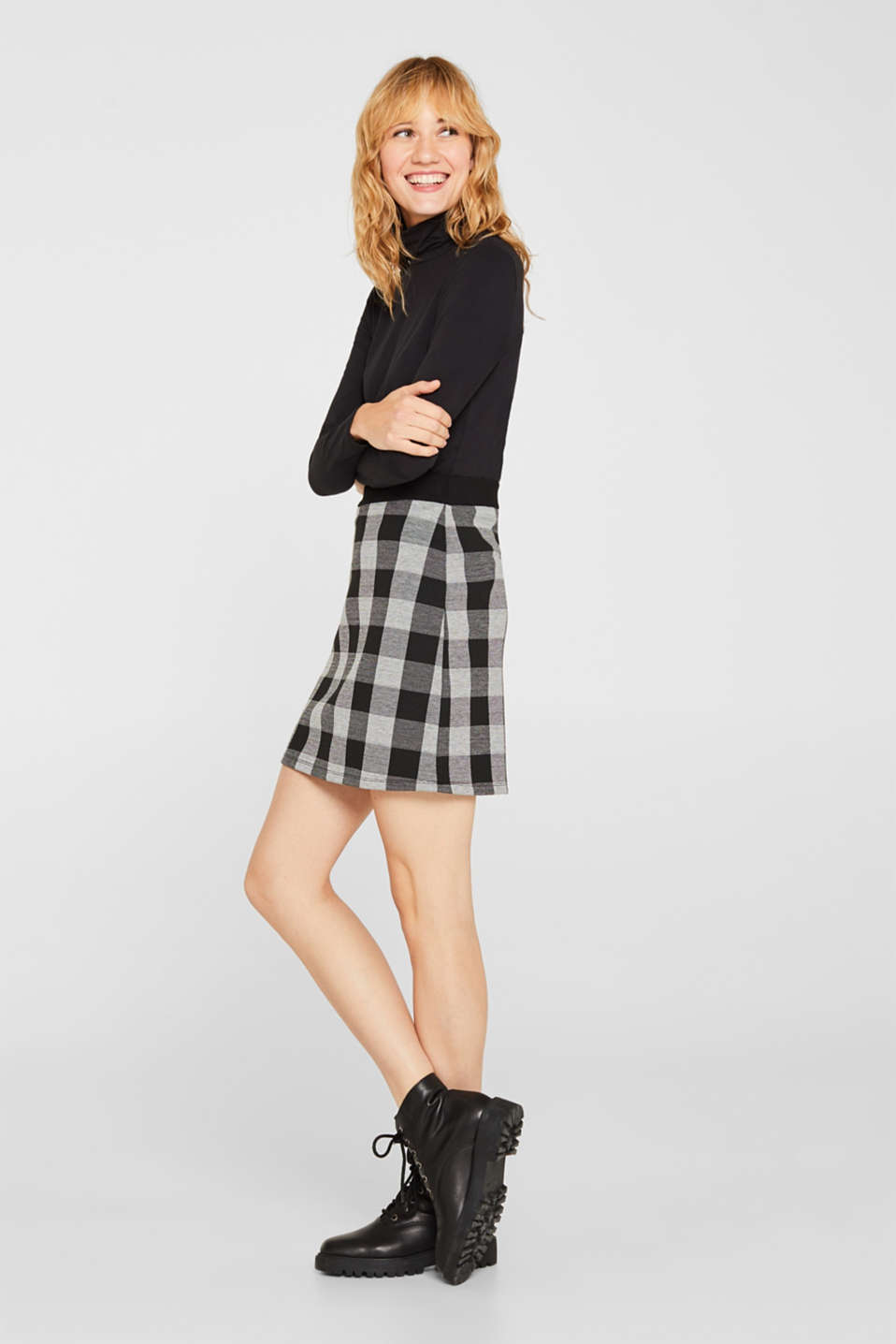 Esprit - Flared stretch jersey skirt