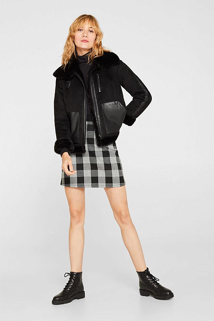 Flared stretch jersey skirt, BLACK, detail image number 1