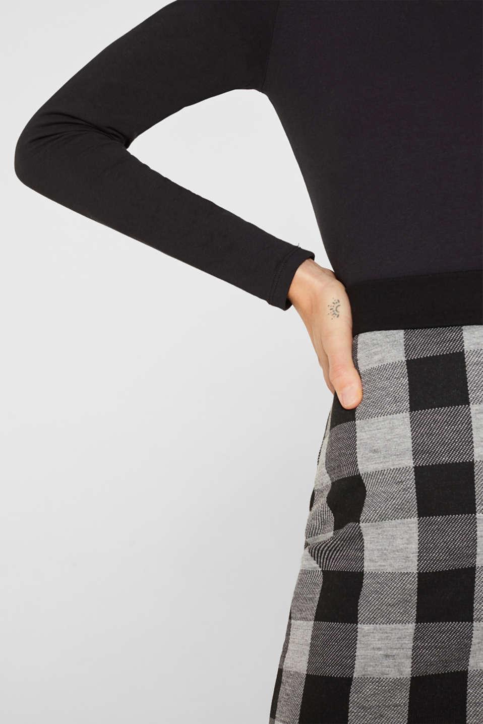 Flared stretch jersey skirt, BLACK, detail image number 2