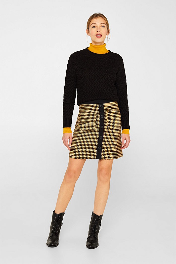 Wool blend: Skirt with a button placket, YELLOW, detail image number 0