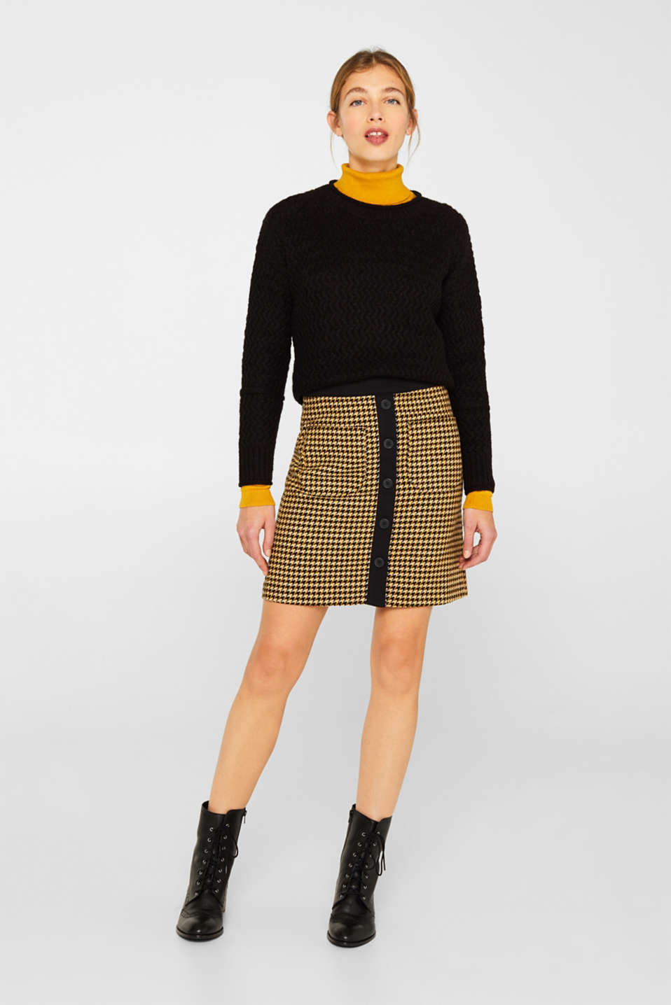 Esprit - Wool blend: Skirt with a button placket