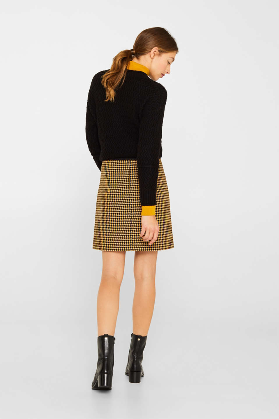 Wool blend: Skirt with a button placket, YELLOW, detail image number 3