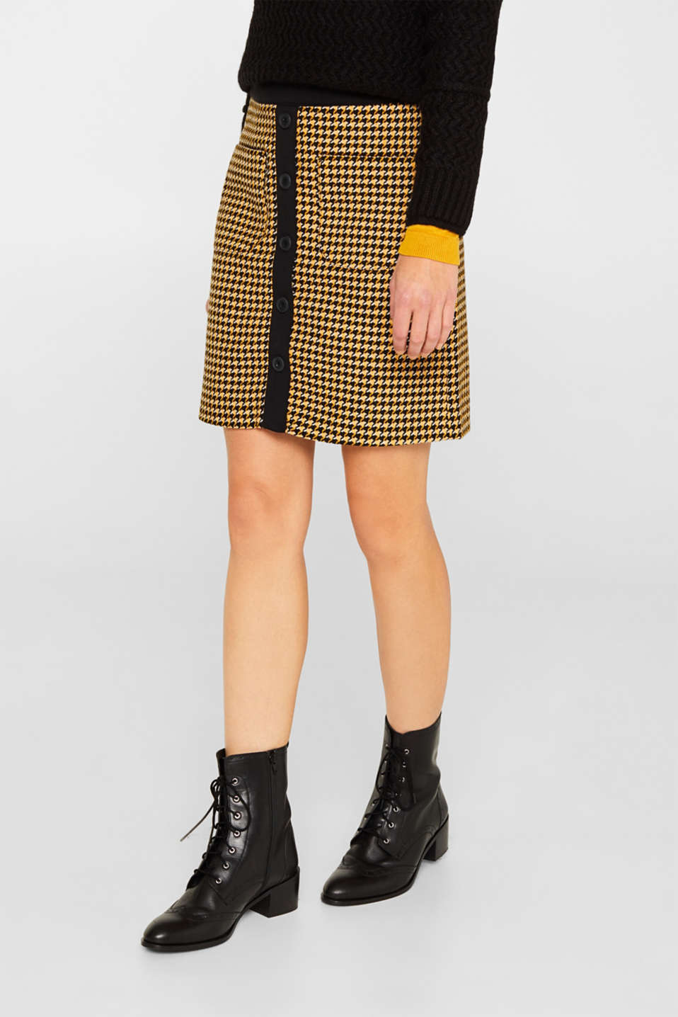 Wool blend: Skirt with a button placket, YELLOW, detail image number 6