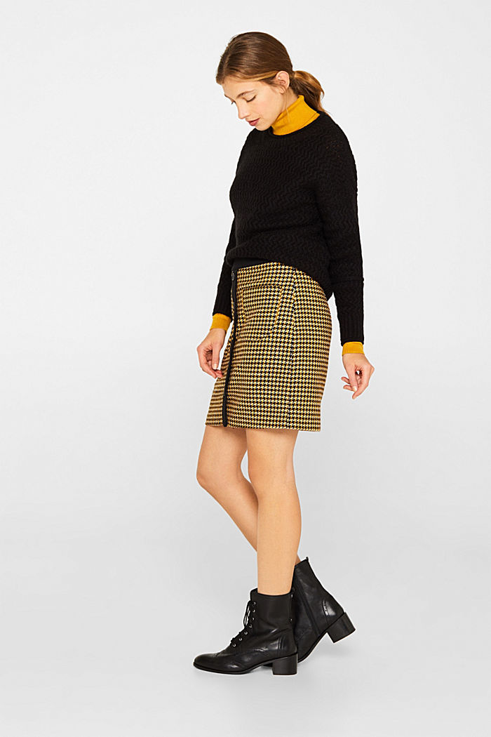 Wool blend: Skirt with a button placket, YELLOW, detail image number 1