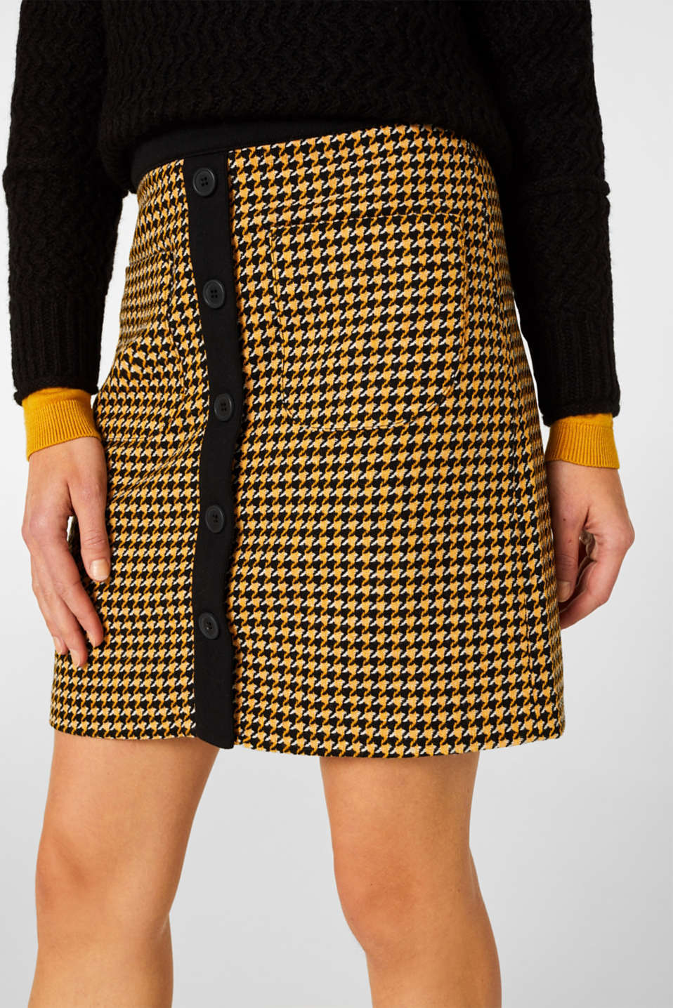 Wool blend: Skirt with a button placket, YELLOW, detail image number 2