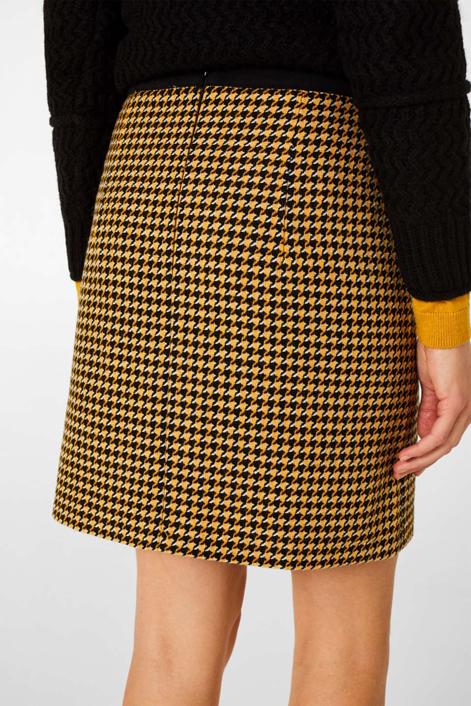 Wool blend: Skirt with a button placket, YELLOW, detail image number 5