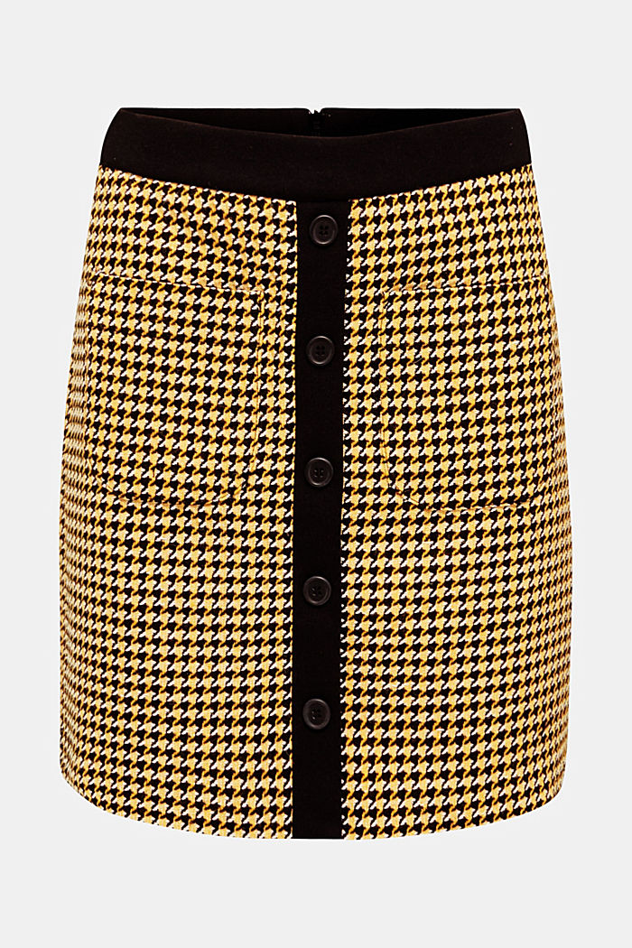 Wool blend: Skirt with a button placket, YELLOW, overview