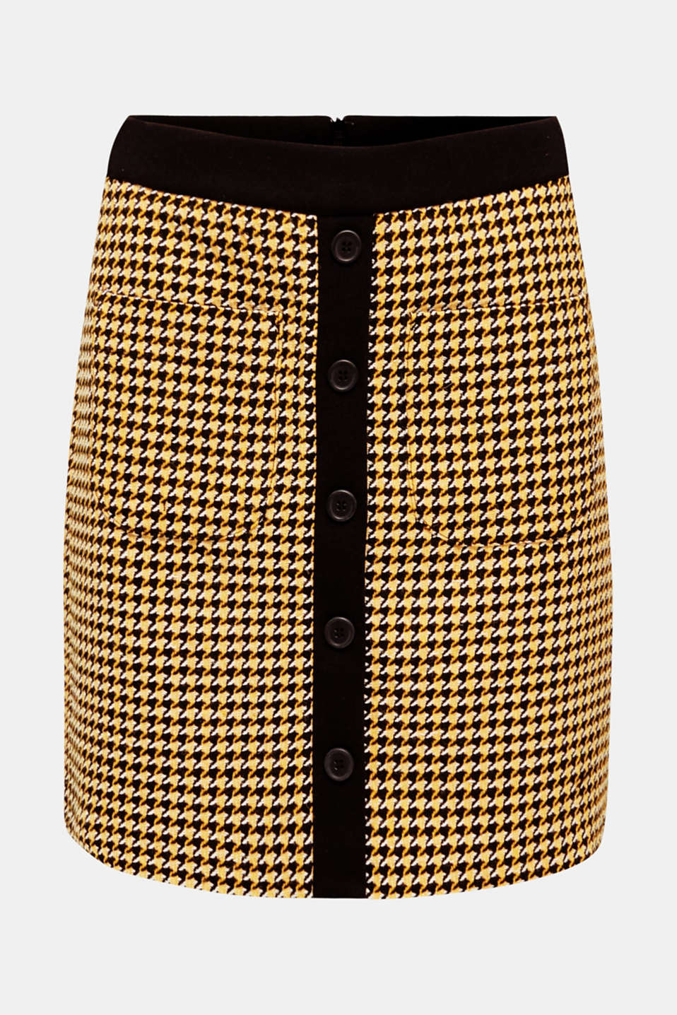 Wool blend: Skirt with a button placket, YELLOW, detail image number 7