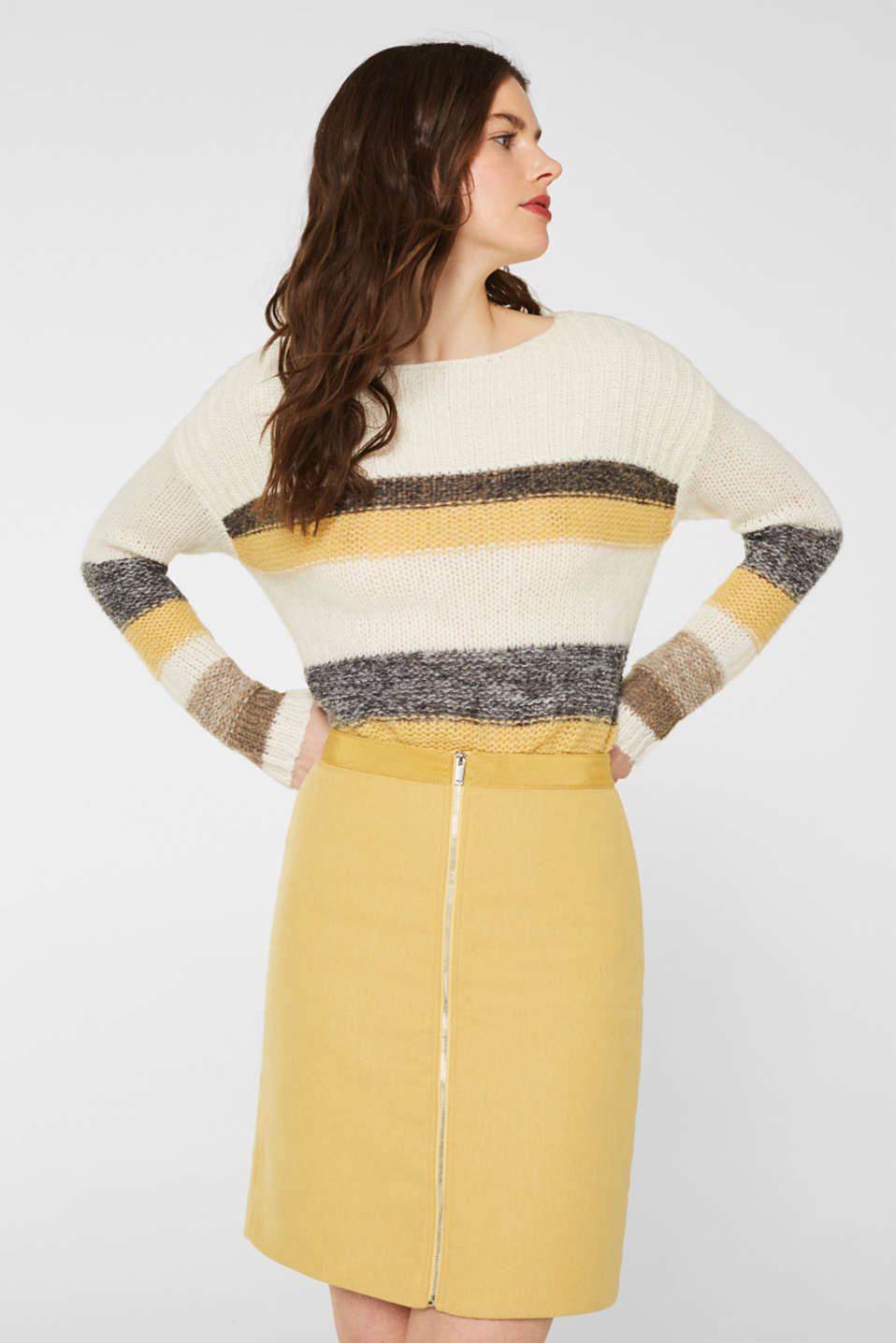 With wool: skirt with a front zip, YELLOW, detail image number 0