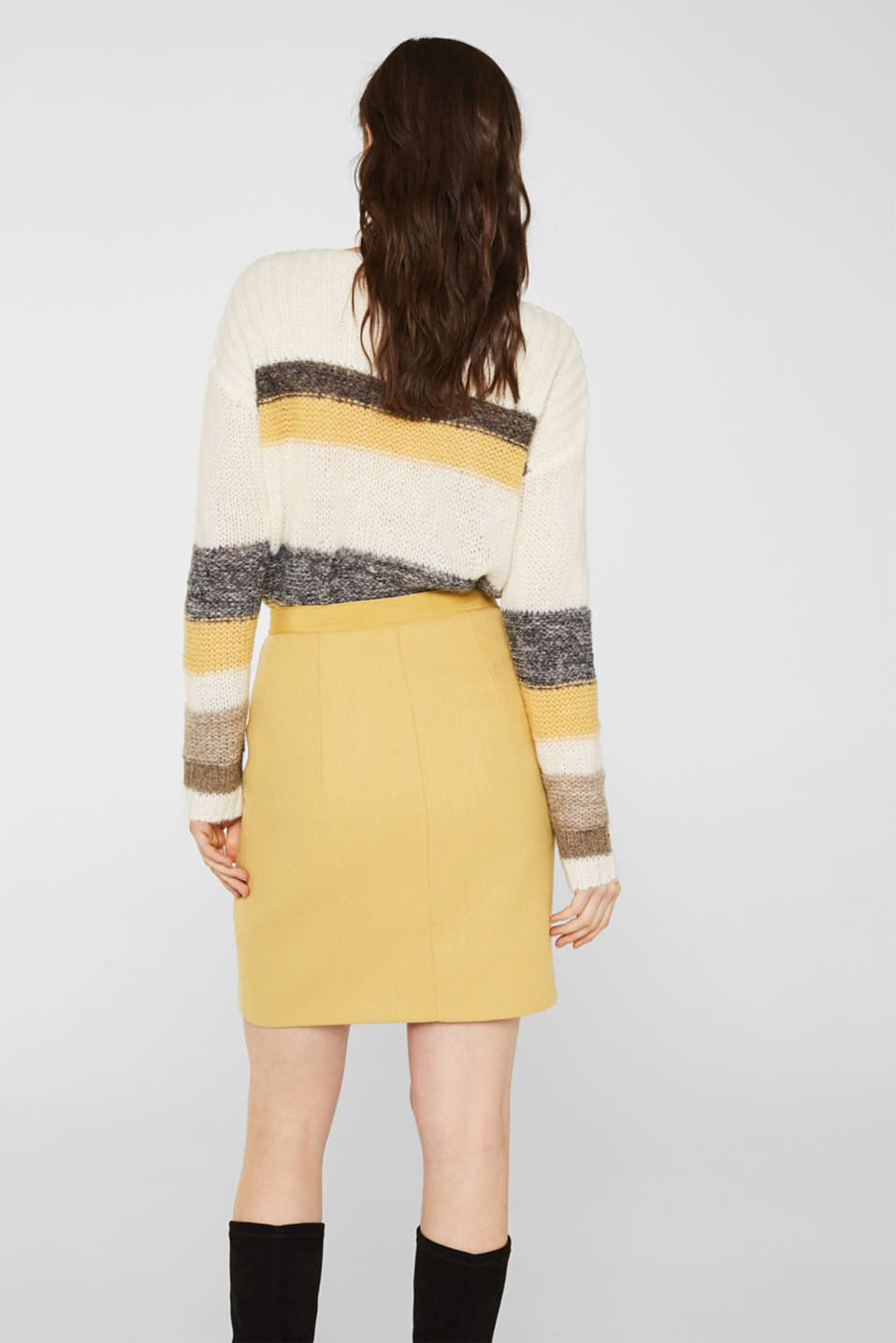 With wool: skirt with a front zip, YELLOW, detail image number 3