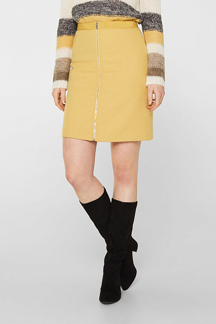With wool: skirt with a front zip, YELLOW, detail image number 5