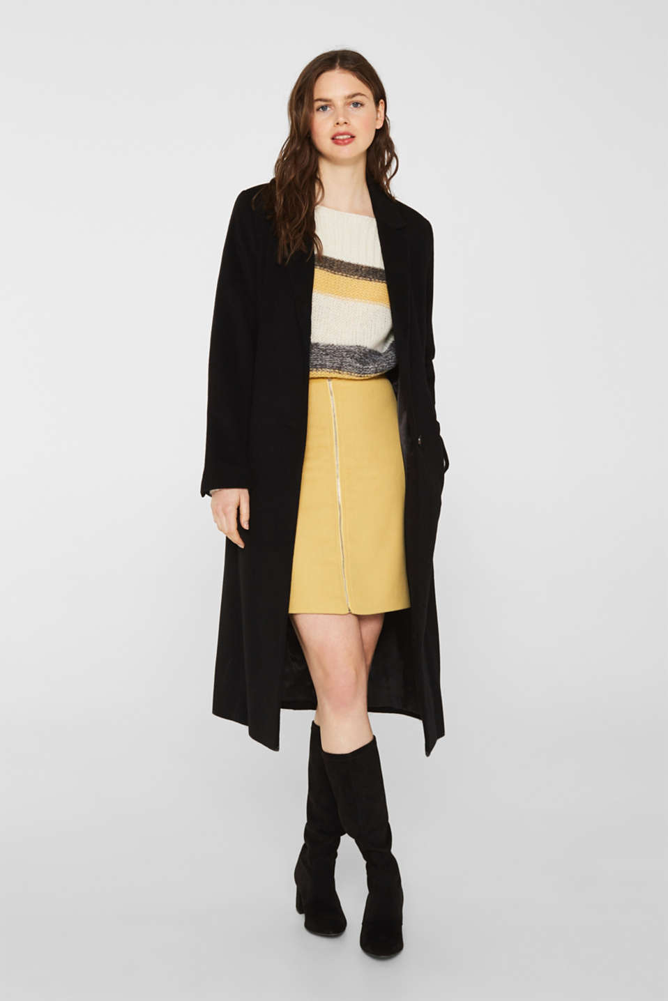 With wool: skirt with a front zip, YELLOW, detail image number 1